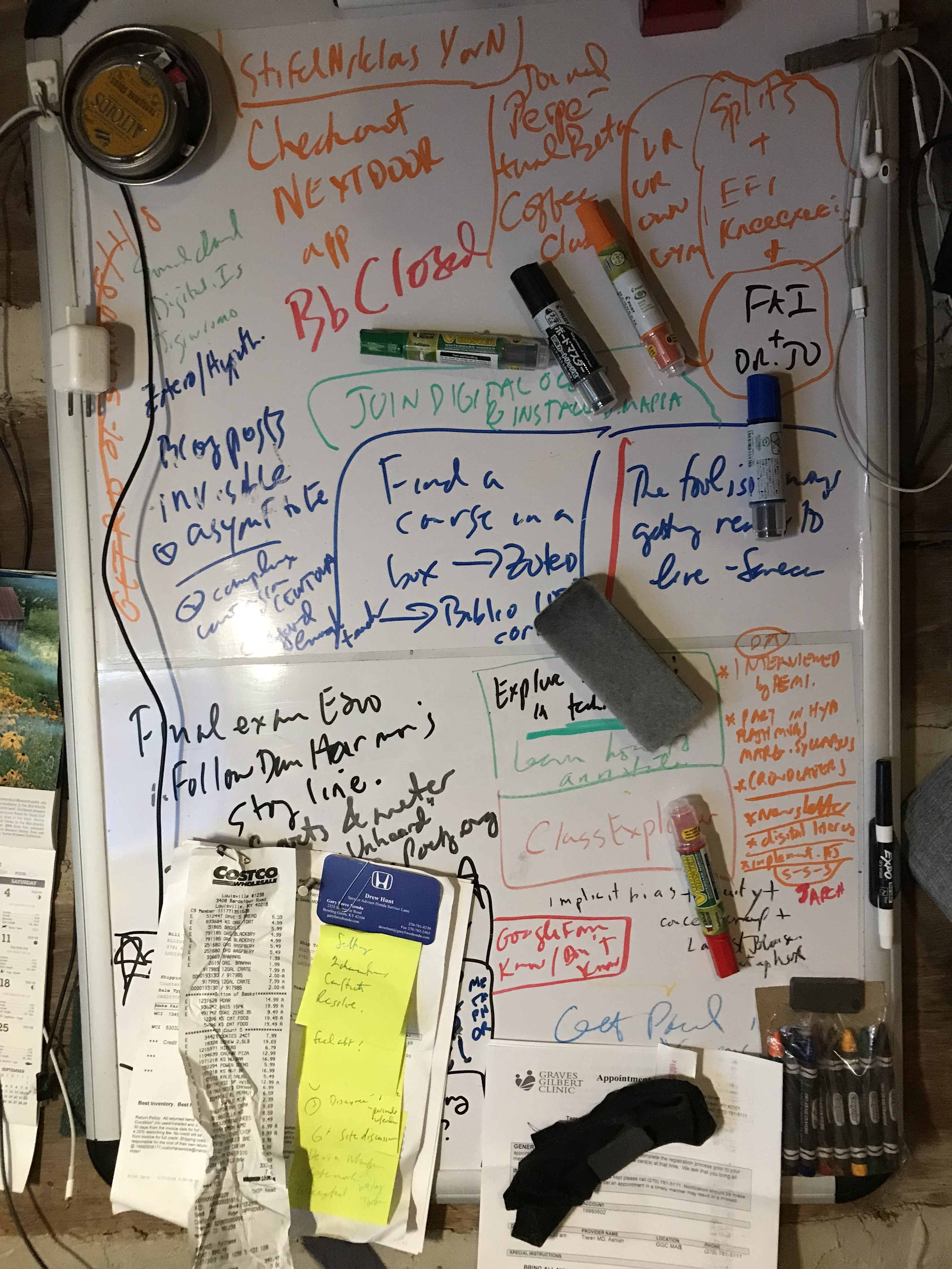 a messy office whiteboard